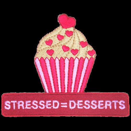Stressed Desserts-haalarimerkki